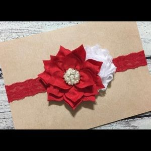 Other - Red and White Christmas Lace Headband